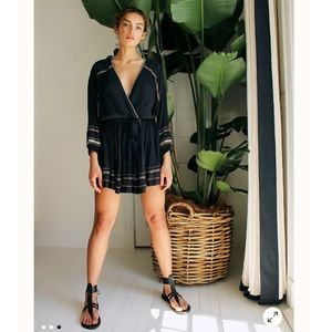 NWT Free People Delilah embroidery dress in navy
